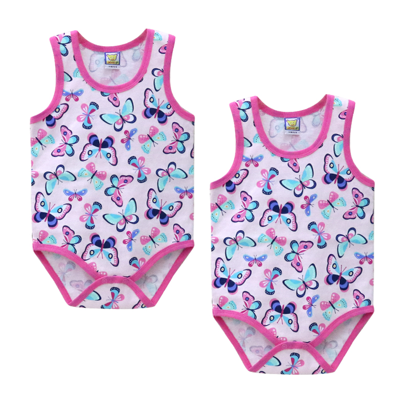 Baby 2 Pieces/lot Bodysuits Boys And Girls Pure Cotton Sleeveless One Pieces Clothes With Convenient Button Summer Clothing