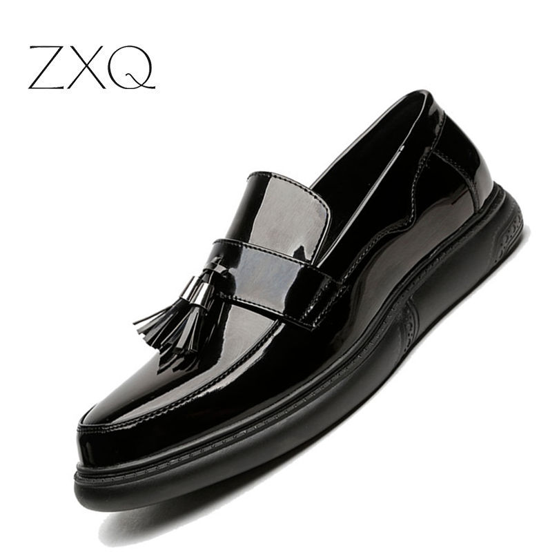 Big Size 38-45 Men Slip On Creepers British Style Tassel Patent Leather Platform Men Loafers Thick Sole Men Driving FlatsBig Size 38-45 Men Slip On Creepers British Style Tassel Patent Leather Platform Men Loafers Thick Sole Men Driving Flats