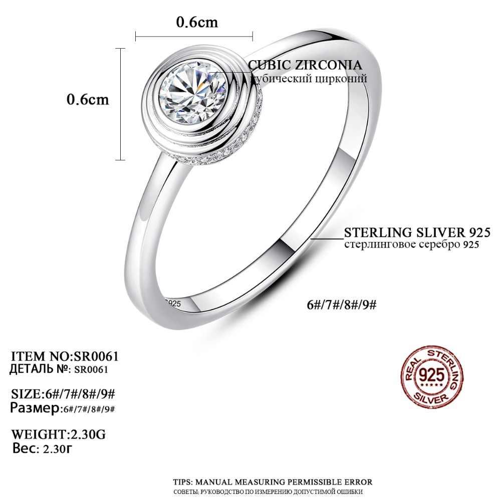 LUOTEEMI แฟชั่นเงินแท้ 925 แหวนเงิน Cubic Zirconia สำหรับ Party Party แหวนเครื่องประดับ