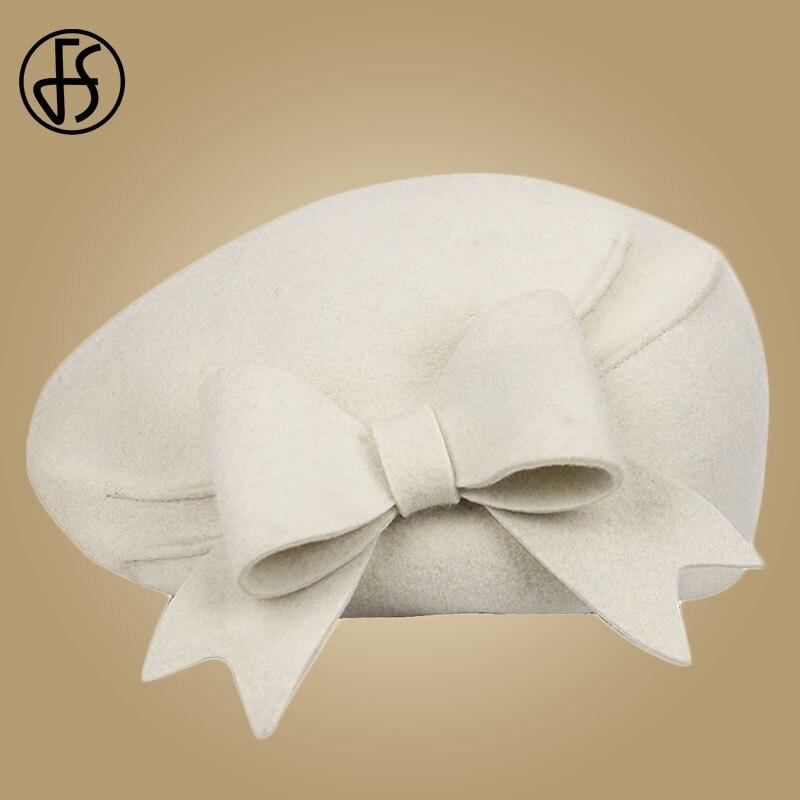 FS Elegant 100% Wool Felt Fedora White Black Ladies Red Hats Wedding  Fascinators Women Bowknot 4f945d47c4a