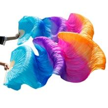 100% 天然シルクベールダンスファン1ペア左 + 右手ベリーダンスファンターコイズ + ロイヤルブルー + パープル + ローズ + オレンジ180*90センチメートル