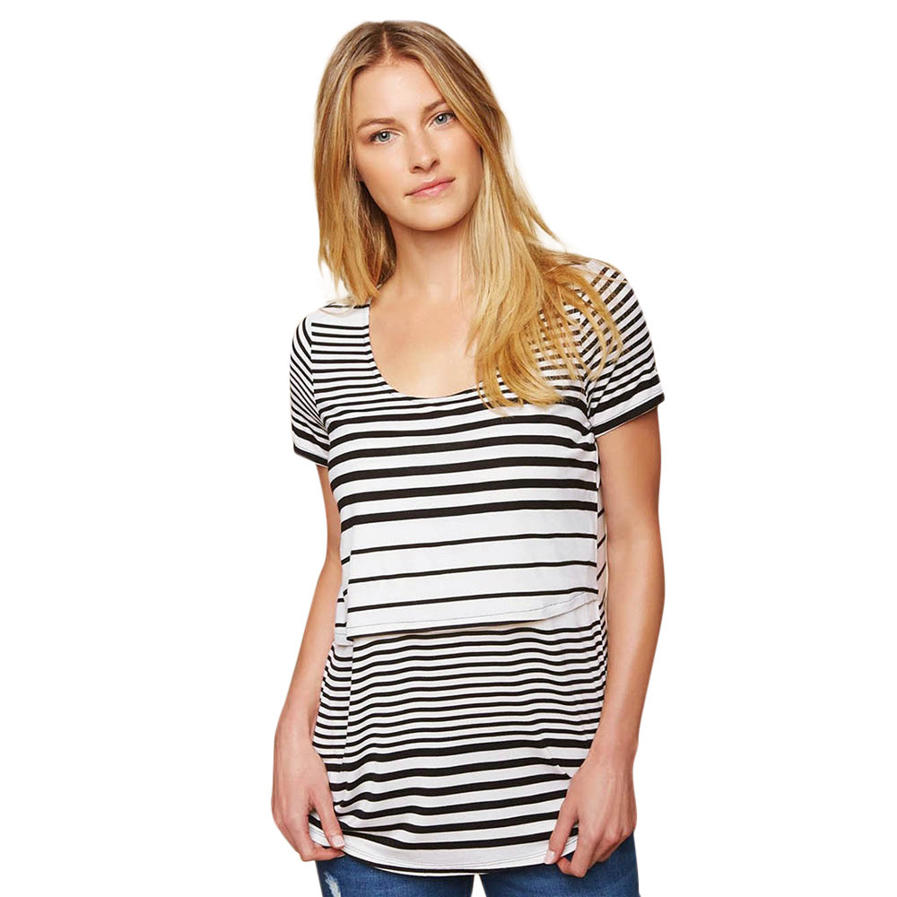 f50b1becd13c2 Breast feeding top for women Maternity clothes Mom Striped Splice Pregnant  Nursing Baby For Maternity Blouse T Shirt Tops-in Tees from Mother & Kids  on ...