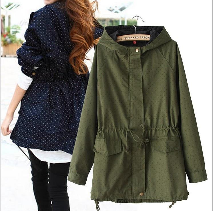 European style Spring Autumn women polka dots drawstring hooded   trench  , female fashion plus size loose casual windbreaker coat