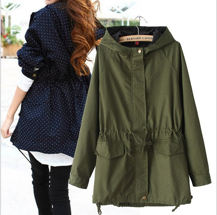 European style Spring Autumn women polka dots drawstring hooded trench, female fashion plus size loose casual windbreaker coat