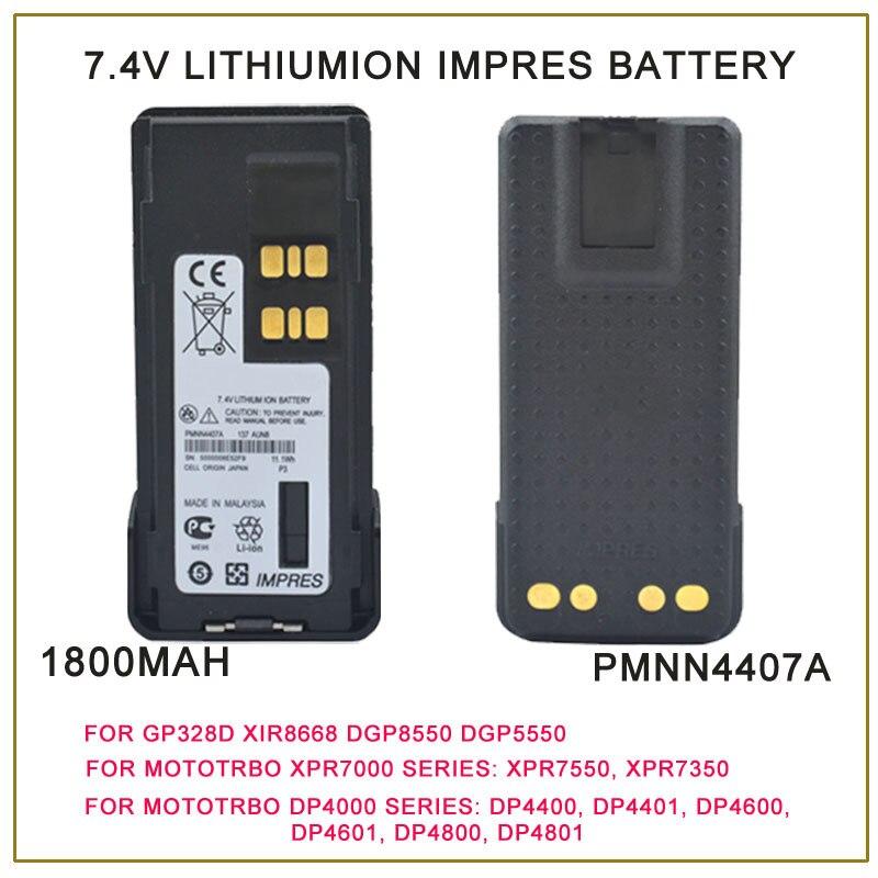 PMNN4407A MOTOTRBO IMPRES LITHIUM ION 1800 mah batterie pour Motorola MOTOTRBO GP328D XiR P8668 XPR 7550 DP4800 DGP8550 DMR Radio