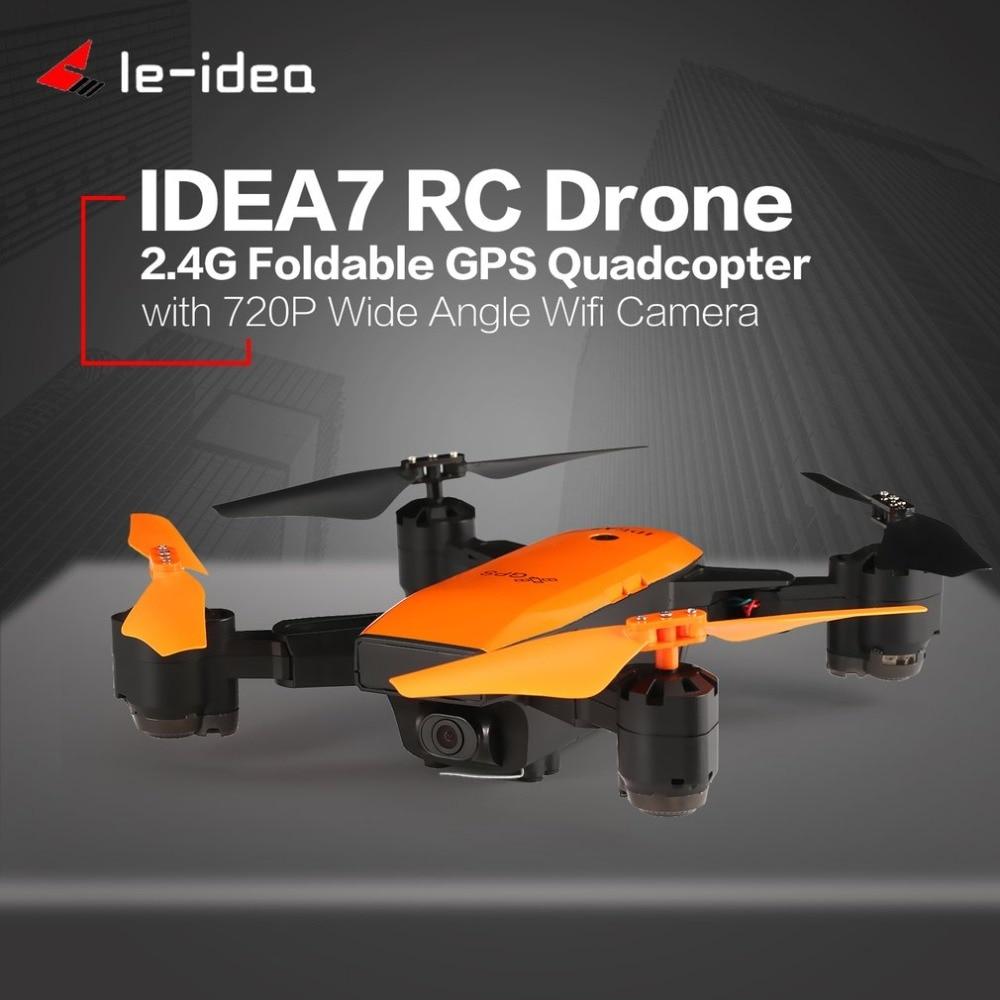 Le-idée IDEA7 2.4g RC Drone avec Caméra 720 p Grand Angle Wifi Pliable Quadcopter GPS Maintien D'altitude sans tête Hélicoptère Une Clé R