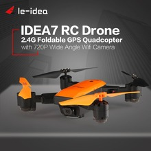 Le-idea IDEA7 2.4G RC Drone with Camera 720P Wide Angle Wifi Foldable Quadcopter GPS Altitude Hold Headless Helicopter One Key R
