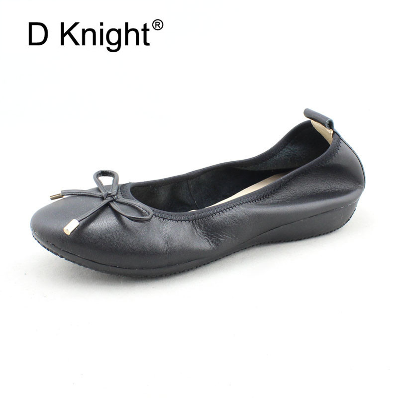 Large Size Flat Shoes Women Autumn Slip On Shoes For Women Loafers Genuine Leather Bowtie Shallow Mouth Ballet Flat Mother Shoes spring and autumn women s loafers flat shoes casual slip on flat women shoes cute bowtie shallow mouth ladies flats shoes women