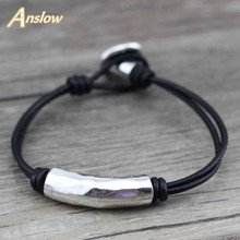Anslow New Arrival Items Cheap Wholesale Men Vintage Charm Zinc Alloy Beads Leather Bracelet For Women Men Kids Gift LOW0374LB