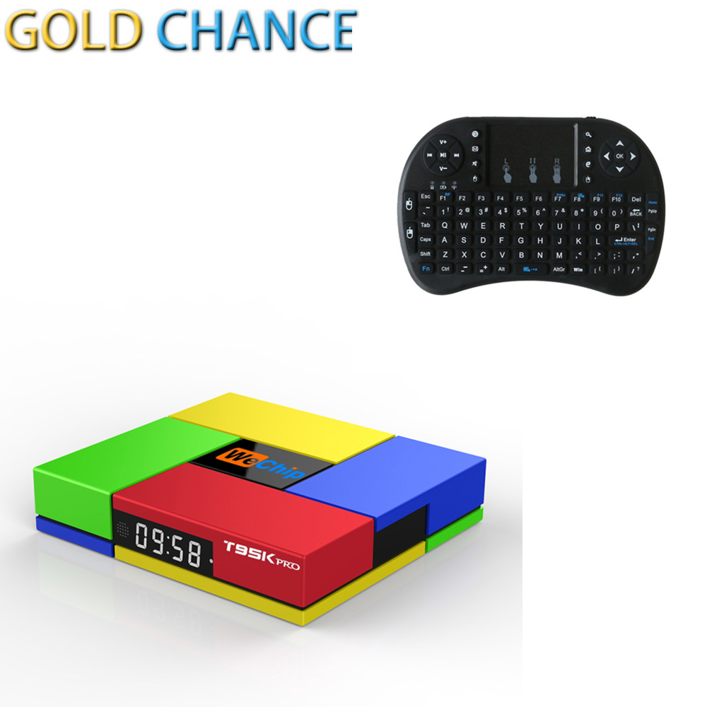 ФОТО Smart Tv Box Wechip T95K PRO Amlogic S912 2G/16G Android 6.0 Octa Core Dual WIFI 2.4G/5.0G + Air Mouse Wireless Keyboard 2.4Ghz