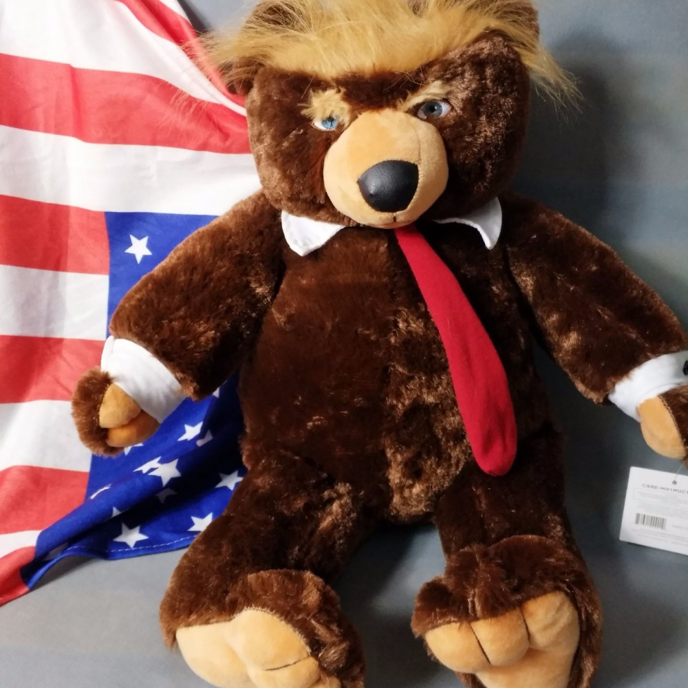 60cm Donald Trump Bear Plush Toys Cool TV USA President Trump Plush Teddy Bear Dolls With US Flag Kids Friends Gift Collection usa flag print crop tee