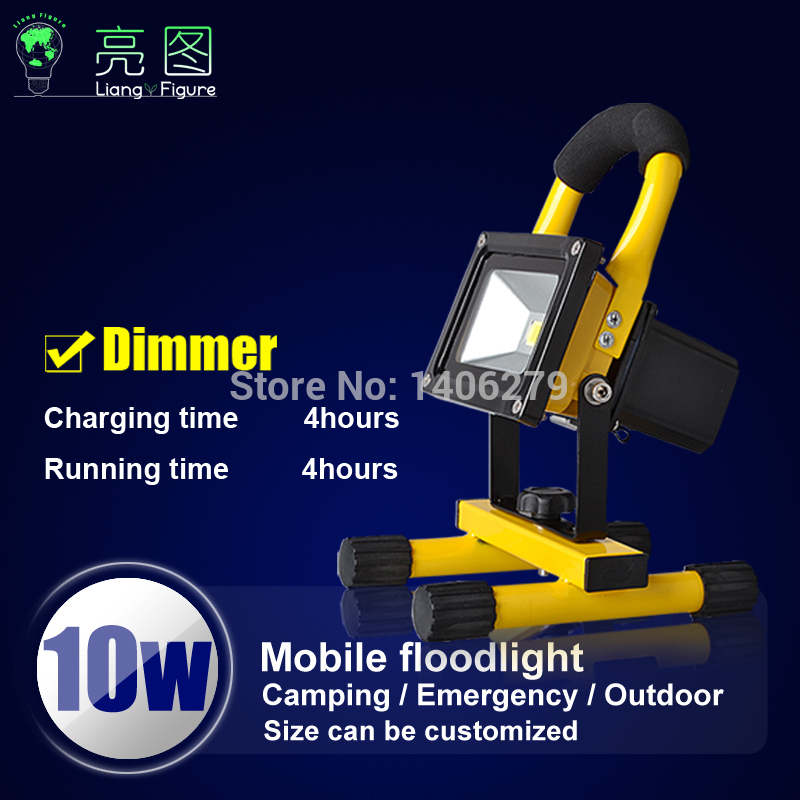 10w 4hours dimmer LED Portable Rechargeable Spotlights AC110-240v LED Outdoor Emergency Integrated floodlight