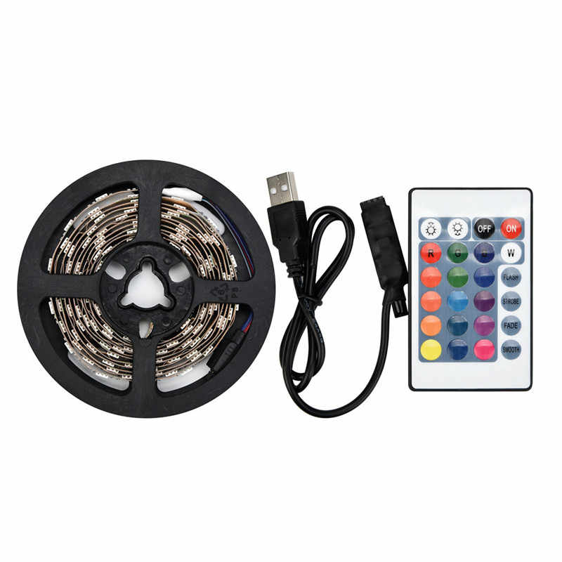 Partai Nikmat 50-200 CM USB LED Jalur Cahaya TV Kembali Lampu 5050RGB Warna Mengubah + Remote Control Sorotan Downlight Lampu Bulb