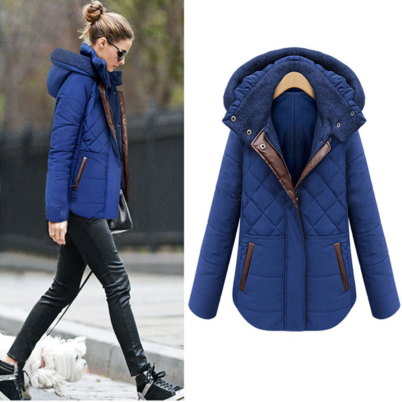 ФОТО 2016 Cheap Winter Women Coats Casual Outwear Hooded Cotton Coat Fashion Thickening Woman Winter Warm jacket and Coats Plus size