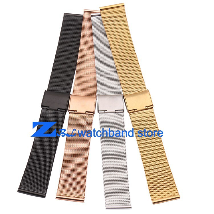 8 10 12 14 16mm 18mm 20mm 22mm 24mm Black Silver Gold Rose Gold ultra-thin Stainless Steel milan Mesh Strap Bracelets Watch Band new mens rose gold watch band 16mm 18mm 20mm 22mm 24mm silver black stainless steel watch band strap straight end bracelet