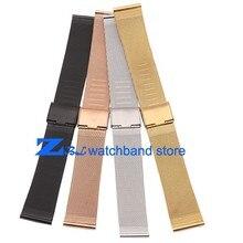 8 10 12 14 16mm 18mm 20mm 22mm 24mm Noir Argent or Rose Or ultra-mince En Acier Inoxydable milan Maille Bracelet Bracelets Montre bande