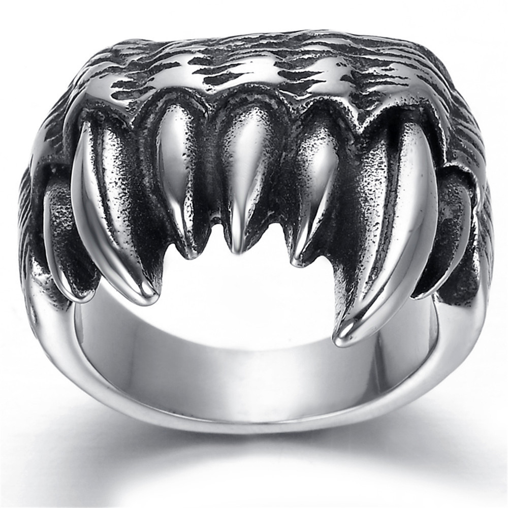 Tooth Shape Male Rings Cool Engagement Rings Unique Dragon Claw Ring For  Men Fashion Stainless Steel