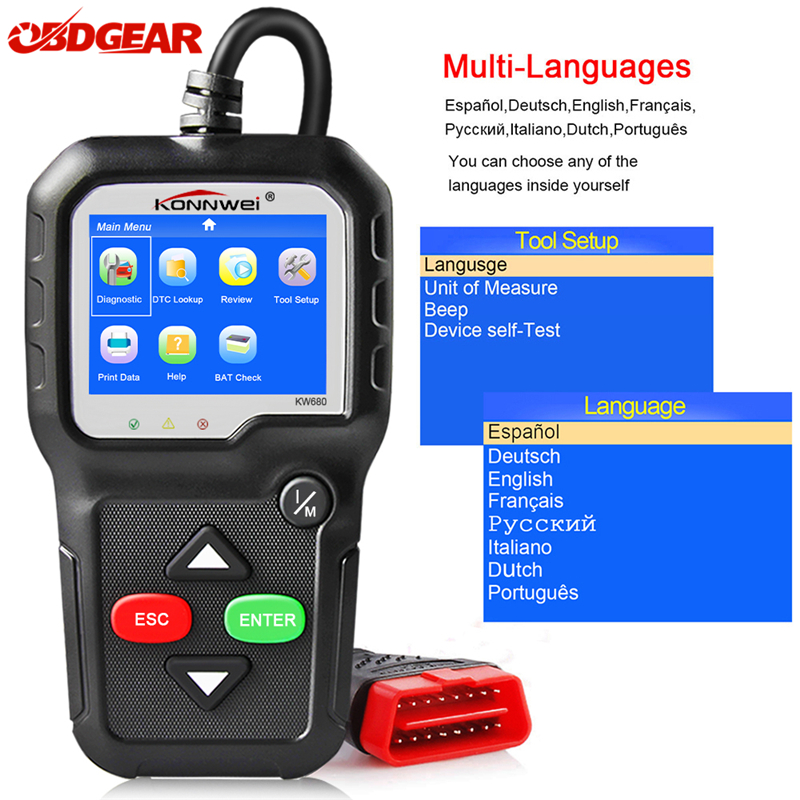 2018 OBD2 Automotive Scaner KONNWEI KW680 OBD2 Scanner All OBD2 Function Car Diagnostic Scanner Support Free Update Code Reader launch x431 obd2 automotive diagnostic scanner obd2 bluetooth adpater mdiag elm327 update online enhanced code reader
