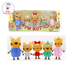 5pcs Three Little Kittens Happy Cats Action Figure Models Russian Cartoon Anime Cute Mini Doll Toys For Children Gifts