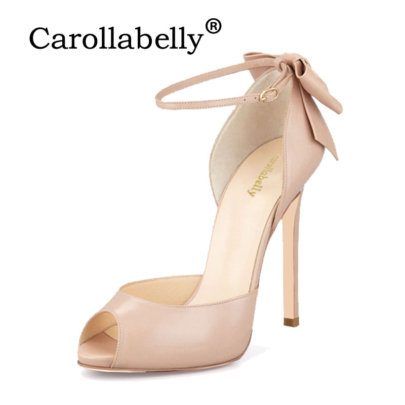 Carollabelly 2018 Sweet High Heels Butterfly Heel Women Pumps Women Sandals Sexy Open toe Wedding Party Shoes Big Size Shoes цена
