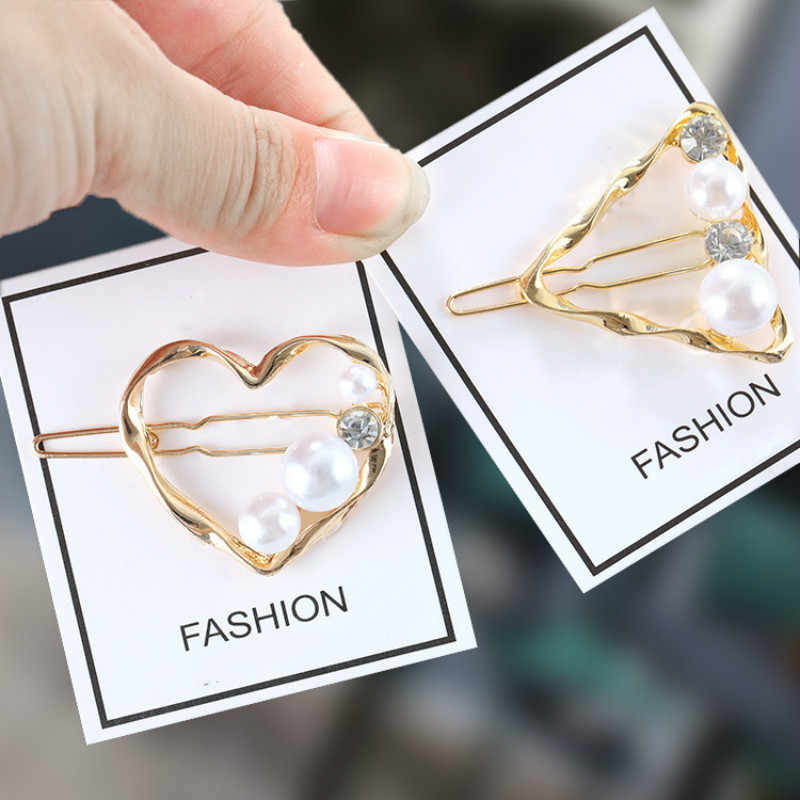 Koreańska wersja biżuteria proste retro dziki geometria słodkowodne perły złoto małe szpilka słowo klip akcesoria do włosów