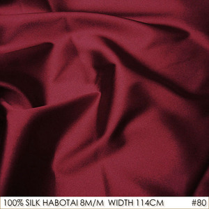 CISULI 100% SILK HABOTAI 114cm width 8momme Pure Silk Jarn Fabrics Batik Painting DIY Patchwork Fabric Purplish Red NO 80(China)