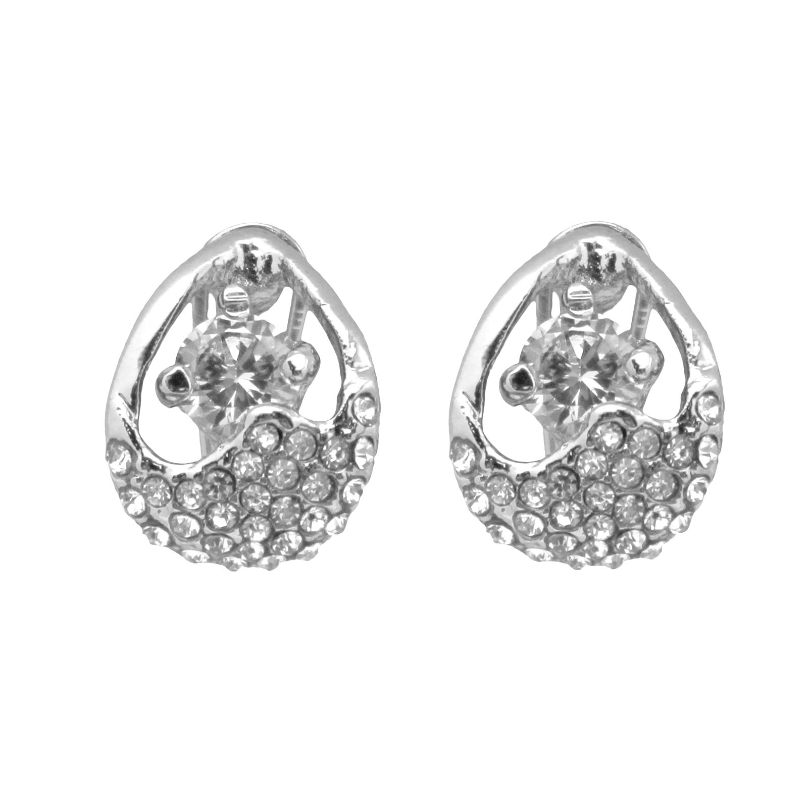 1 Pair Gold Plated Crystal Diamond Earrings Clip On Ear Studs Women Gift