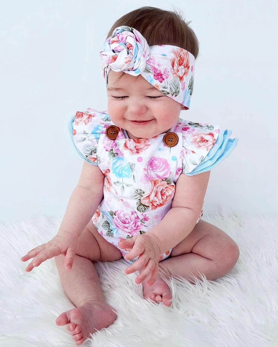 511681c3501e7 2017 Fashion Summer Adorable Baby Girls Floral Print Romper Jumper Clothes  Sunsuit Set