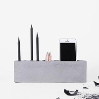 Concrete Cement Rectangular Pencil Container Creative Fashion Simple Multifunctional Office Table Pen Holder Silicone Mold