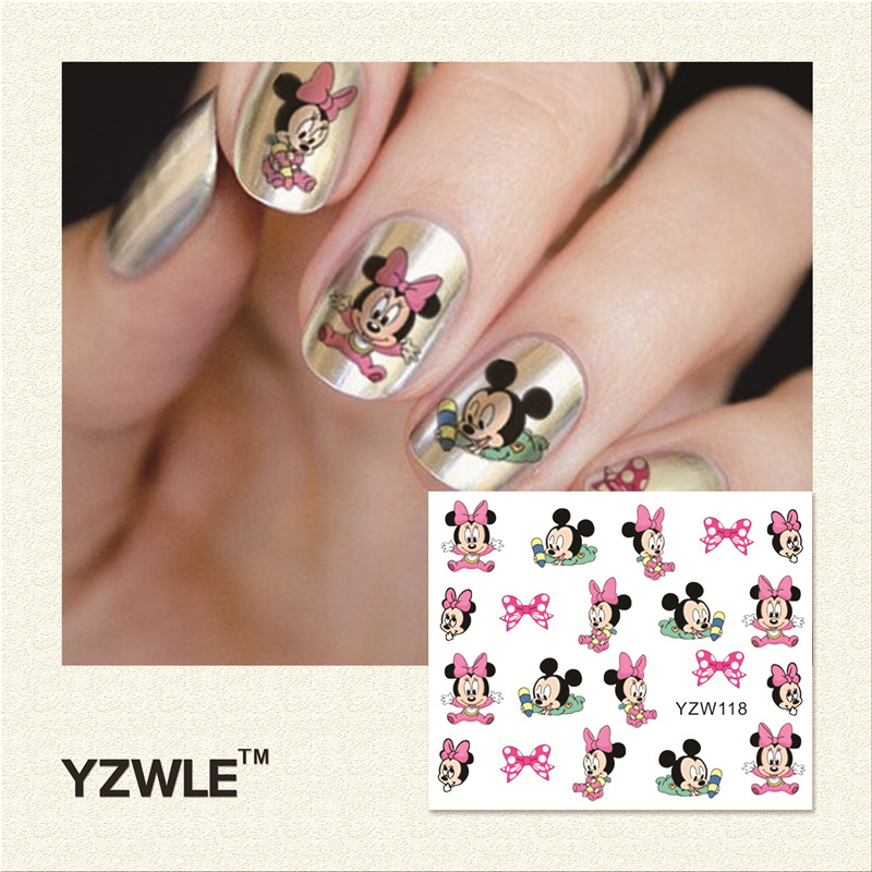 YZWLE 1 Piece Hot Sale Water Transfer Nails Art Sticker Manicure Decor Tool Cover Nail Wrap Decal (YZW118) yzwle 1 sheet cartoon watermark water transfer design nail art sticker nails decal manicure tools