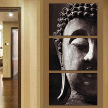 Abstract Canvas Painting home decor picture Print 3 Panel Buddha Statue Artwork for Living Room Frameless Printing Wall Art Post