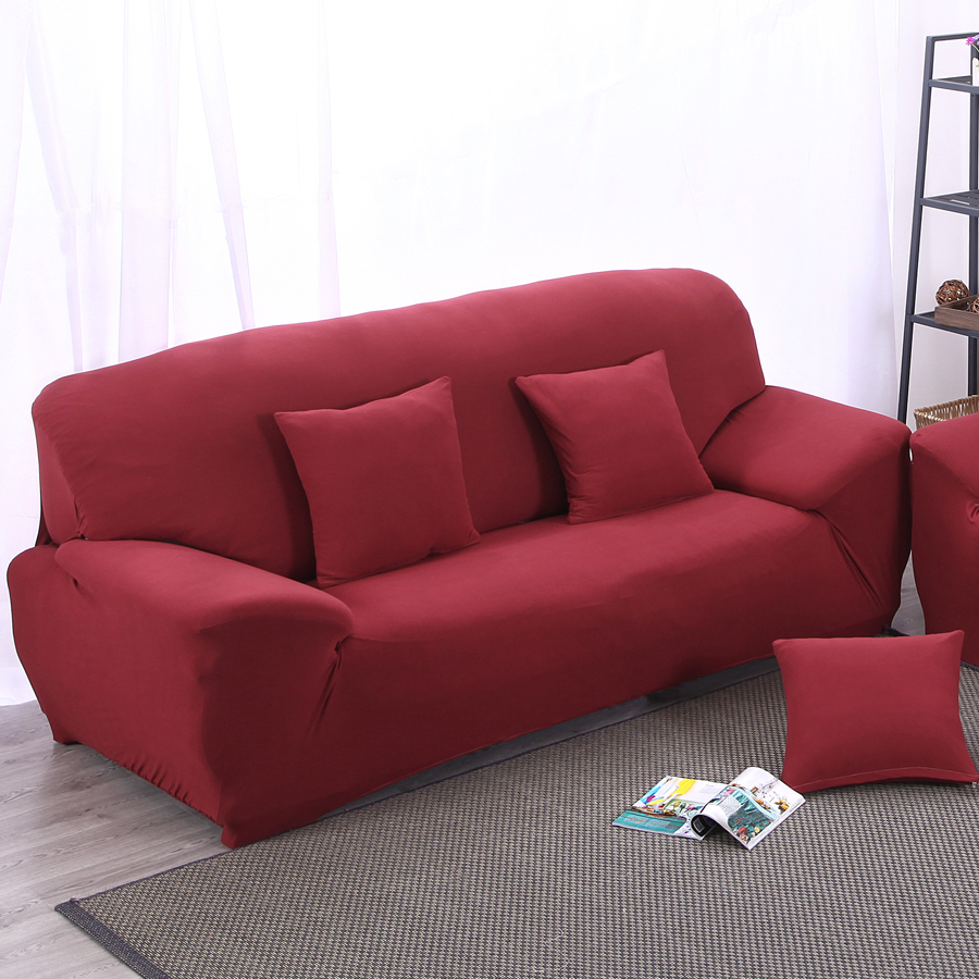 Elastic Sofa Cover Universal Slipcover Stretchable Solid Color Chair Cover  Double Three Four Seater Sofa Cover Red Wine