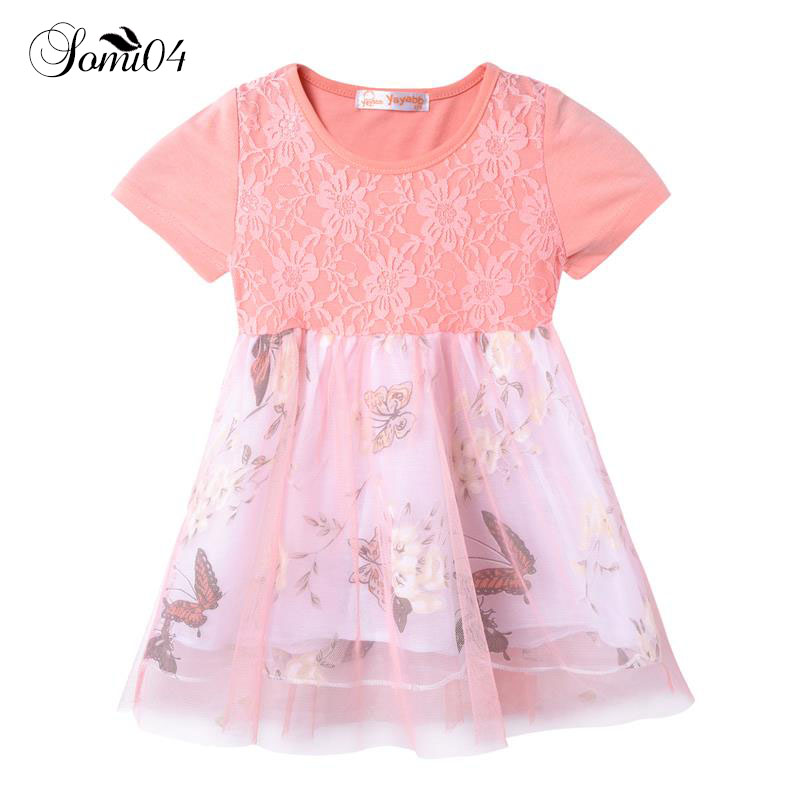 2018 New Child Princess Dress Lolita Style Girls Butterfly Floral Pattern Summer Girl Clothes Cotton Short Sleeve Tutu Dresses hwyhx 2016 new split type child girl floral pattern lovely swimsuits kid swimwear skirts best price