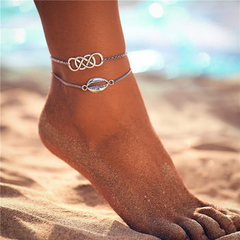 IF ME Bohemian Multilayers Anklets For Women Girl Vintage Silver Color Moon Sun Beach Pendant Ankle Bracelet on Leg Foot Jewelry 5