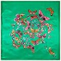 90 см * 90 см Новая Мода Шелковый Шарф Женщины Подражали Шелковый Евро Стиль Зеленая Бабочка Печатных Шарфы, Шали хиджаб