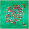 90cm*90cm New Fashion Silk Square Scarf Women Imitated Silk Euro Style Green Butterfly Printed Scarves Shawl Hijab
