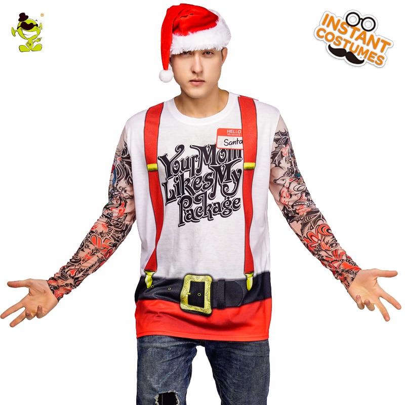 New Arrival Christmas Tattoos T-shirt Costume Masquerade Santa Claus Long Sleeve Tees Cosplay Christmas T-shirt  Clothes