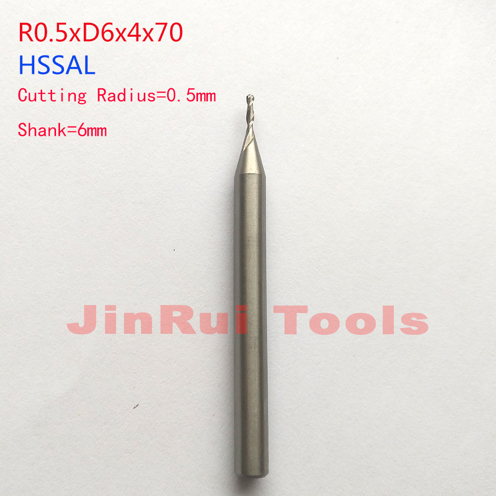 1 pc  1mm Radius 0.5mm 2 Flutes R0.5*D6*4*70 HSSAL Ball nose  End Mills Spiral Bit Milling cutter knife Tools CNC Router bits