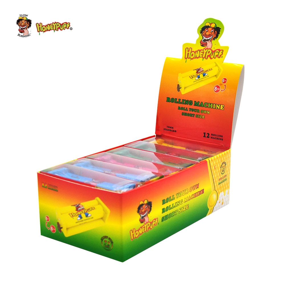 HONEYPUFF 12PCS Plastic Cigarette Rolling Machine Suitable 70MM Paper Manual Tobacco Button Adjust Smoking Roller Paper Size