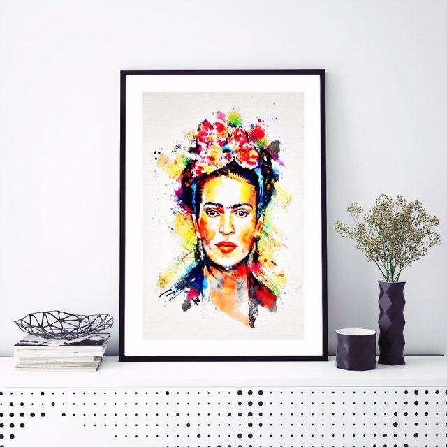 Online Shop Frida Kahlo Watercolor Portrait Canvas Art Print ...