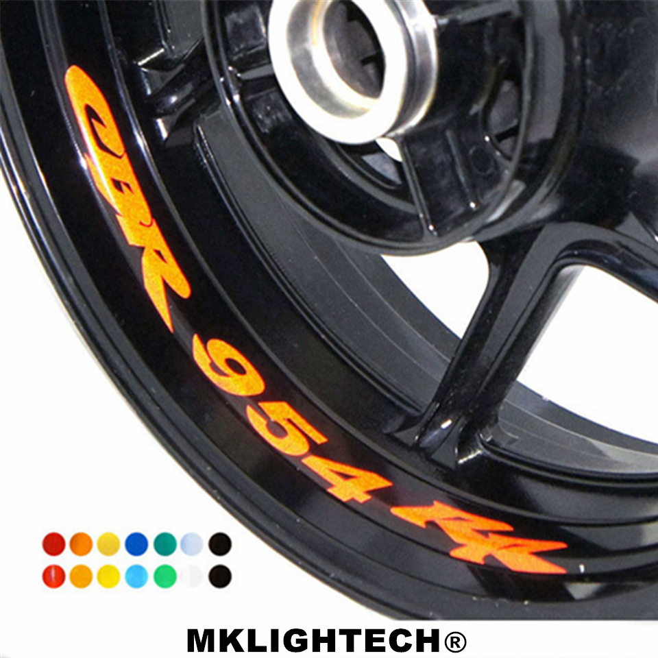 MKLIGHTECH 8 X CUSTOM INNER RIM DECALS WHEEL Reflective STICKERS STRIPES FOR HONDA CBR 954 RR in Decals Stickers from Automobiles Motorcycles