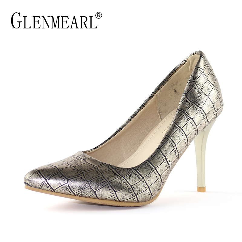 Brand Women Pumps High Heels Shoes Spring Pointed Toe Gold Pumps Woman Thin Heels Dress Shoes Plus Size Sexy Wedding Shoes DE gold sliver shoes woman for 2016 new spring glitter bling pointed toe flats women shoes for summer size plus 35 40 xwd1841