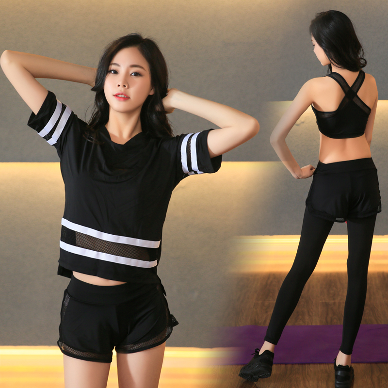 New Plus Size Women Yoga Set Women Fitness T shirt Running Tights Breathable Exercise Sports Bra Outdoor Striped Mesh Sport Suit - 5