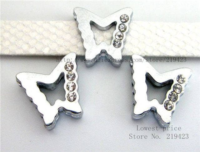 10pcs 8mm half rhinestone butterfly Slide Charms Fit Pet Collars Wristbands  Belts key chain DIY accessory c6b87d9aca27