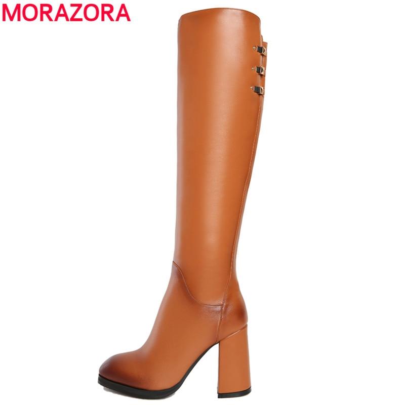 ФОТО MORAZORA New pu+ genuine leather women boots square high heels rivets high heeled ladies knee high boots size 34-43