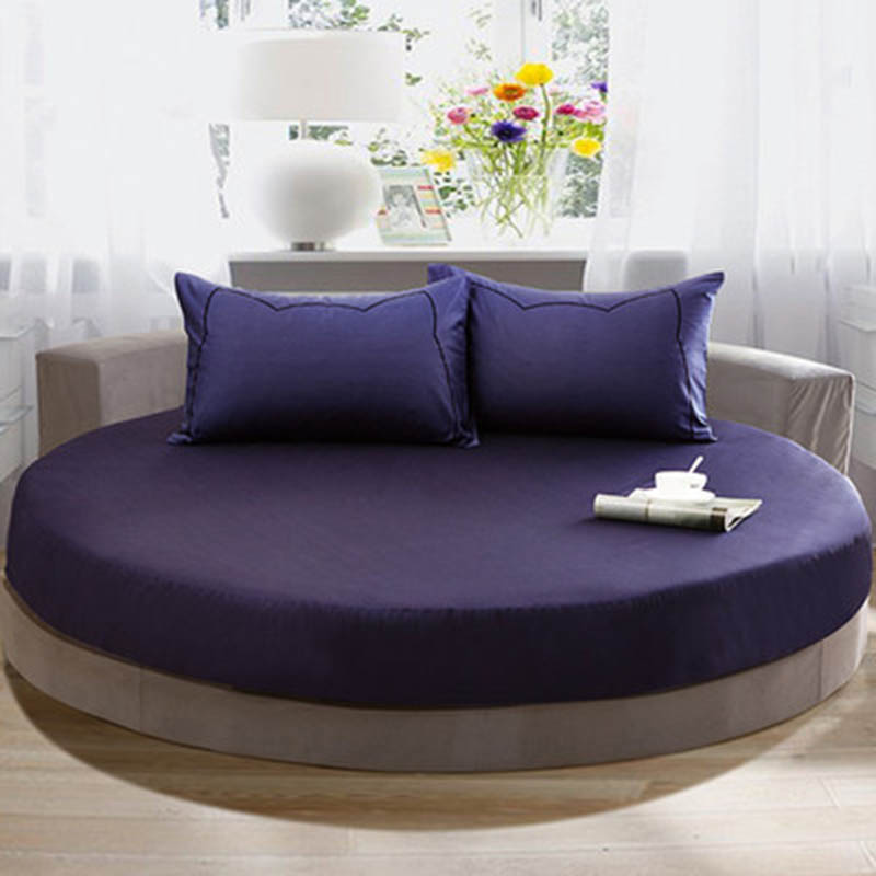 Solid Color Cotton Mattress Covers Round Fitted Sheets Diameter 200cm 220cm Mattress Protector Bed Cover Drop Shipping