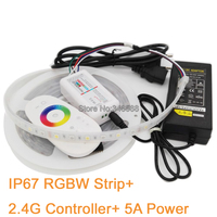 5M 12V 5050 RGBW LED Strip Light IP66 Silicone Waterproof RGB+White RGB+Warm White 60LED/M + 2.4G Remote Controller+12V 5A Power