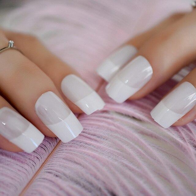 24pcs/kit Clear White Squoval Fake Nails Medium UV Gel