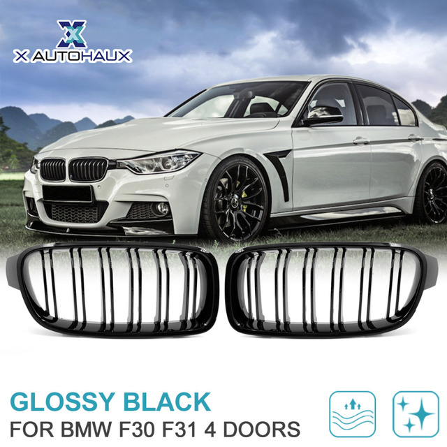 X Autohaux Gloss Black Front Kidney Grille For Bmw F30 F31 328i 335i