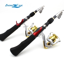 1.65M Fishing Rod Portable Foldable Travel Spinning Fishing Rod Carbon with 1000 Series Sea Fishing Reel Rod Combo Fishing Set